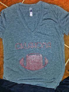 Glitter Lady vneck Oklahoma football tee by YOStees on Etsy, $23.99