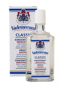 Vademecum Mouthwash and Gargle Concentrate 75ml A natural, herbal formula that contains sage, chamomile, and mint. Freshens breath, but also fights tartar and plaque and helps heal minor abrasions of gums, skin, cold sores and canker sores in the m http://www.MightGet.com/january-2017-11/vademecum-mouthwash-and-gargle-concentrate-75ml.asp