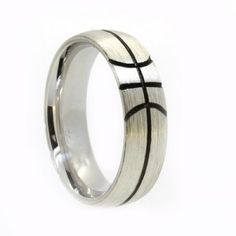 White gold mens wedding ring, 6.0mm wide x 2.0mm deep comfort wedder with brushed finish and ruthinium lines.