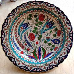 Çini Tabaklar İznik Kütahya Seramikleri Ottoman Ceramic Plates 18cm El Yapımı Hand Made Turkish Ceramics Cini Tabak Painted Ceramic Plates, Ceramic Painting, Decorative Plates, Glazes For Pottery, Pottery Art, Porcelain Tile, Earthenware, Islamic Art, Print Patterns
