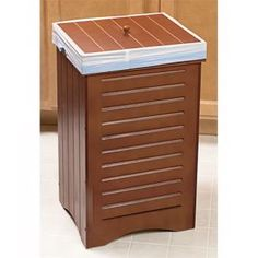 wooden decorative kitchen trash can with lift off lid maple - Wooden Kitchen Trash Container