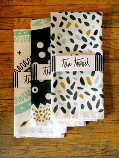 throw in the towel | Vitamin Daily:  Working away in a studio in Edmonton, Victoria Wiercinski is constantly creating. A graphic designer, illustrator and stationary artist, this wunderkind is making a name for herself with whimsical and bold prints reminiscent of 1950s patterns and Scandinavian design. Her trio of hand-screened tea towels are perfect for wrapping up a great bottle of wine and delivering to your next dinner party hostess. —Kait Kucy