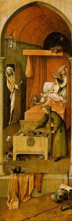 """""""Death and the Miser"""" By Hieronymus Bosch (c. 1490). Oil on wood; National Gallery of Art, Washington, DC, USA  A moral tale -Bosch's panel painting, """"Death and the Miser"""", serves as a warning to anyone who has grabbed at life's pleasures, without being sufficiently detached, and who is unprepared to die."""