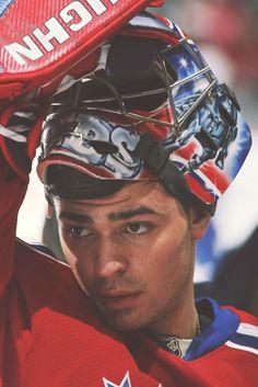 Hero of the town Goalie Gear, Goalie Mask, Hockey Goalie, Hockey Teams, Hockey Players, Ice Hockey, Hockey Stuff, Hockey Mom, Montreal Canadiens