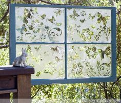 s 13 ways to get backyard privacy without a fence, fences, outdoor living, Hang whimsical etched glass windows Old Window Frames, Window Ideas, Window Panes, Window Art, Window Screens, Window Glass, Backyard Privacy, Privacy Fences, Garden Privacy