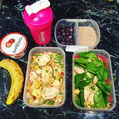 Meals all ready to go for tomorrow! As most of you know I prepare my meals on a daily basis because I don't like to eat the same thing day in day out haha. I get bored easily so this gives me variety Preparation is pretty important- it helps you stay accountable to your goals and saves a lot of #time and #money. - Pictured above we have: Choc proats from @simplynaturalnutrition blueberries for breaky a banana for pre-workout carbs protein shake strawberry Chobani yoghurt & chicken egg white…