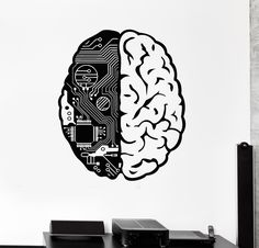 Vinyl Wall Decal Brain Chip Engineer Geek Computer Artificial Intelligence Stickers (374ig)