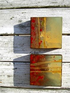 Set of 2 Small Canvas - Original Abstract Mixed Media Modern Contemporary Painting - 6inx6in