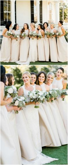 Cream-colored bridesmaid gowns, neutral-hued dresses, long, spring wedding fashion // Caroline Lima Photography