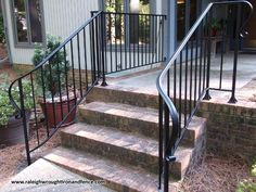 Custom Wrought Iron Residential Railings – Raleigh Wrought Iron Co. Custom Wrought Iron Residential Railings – Raleigh Wrought Iron Co. Porch Step Railing, Wrought Iron Porch Railings, Porch Handrails, Exterior Stair Railing, Outside Stairs, Front Porch Railings, Iron Handrails, Porch Steps, Railing Ideas
