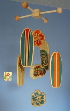 Surfboard Baby Mobile  Orange  Woody Surf Boards by outofthebox, $75.00