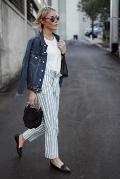 High-waisted striped linen pants + jean jacket + black loafers