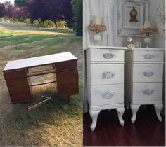 4 the love of wood: REPURPOSE A DESK INTO BEDSIDES - 3 drawer bedside cabinets