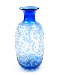 Auction will start October 18th 2015 on www.botterweg.com - Clear glass vase GlassSchool with blue glass overlay in which etched decoration design Floris Meydam 1948 executed by Glasfabriek Leerdam / the Netherlands