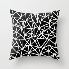 3249195231c6 Buy Abstract Outline Thick White on Black Throw Pillow by Project M.  Worldwide shipping available
