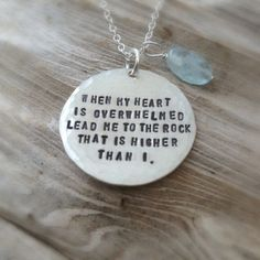Silver Scripture Necklace - Psalm 61:2 Bible Quote Sterling Jewelry - Pretty, but thinking maybe requesting a different verse?
