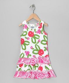 Take a look at this White Brush Rose Drop-Waist Dress - Infant, Toddler & Girls by Corky's Kids on #zulily today!