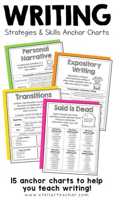 15 anchor charts to improve your students writing skills.  This resource comes in print form as well as digital form for distance learning.  Each chart gives an explanation of either a type of writing or tip to improve your writing.  Perfect to use in interactive notebooks or as a part of your classroom's writing center. Expository Writing, Teaching Writing, Writing Activities, Teaching Tips, Interactive Writing Notebook, Interactive Notebooks, Writing Strategies, Writing Skills, Transition Words