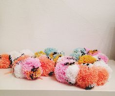 pom pom garland - love the color combinations!