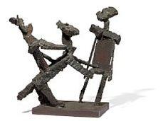 Robert Jacobsen: Rider and figure. Unsigned. Patinated iron. H. 38 cm. W. 30 cm.  Robert Jacobsen, b. Copenhagen 1912, d. Egtved 1993