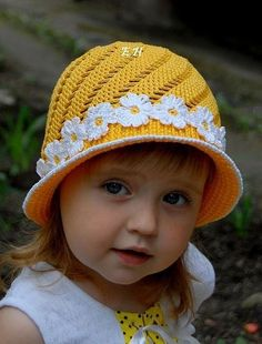 Yellow Hat with White Flowers free crochet graph pattern