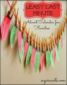 Easy, Last minute, Advent calendar for families.  Make memories with activities leading up to Christmas with this DIY holiday décor craft. By Sugar Aunts