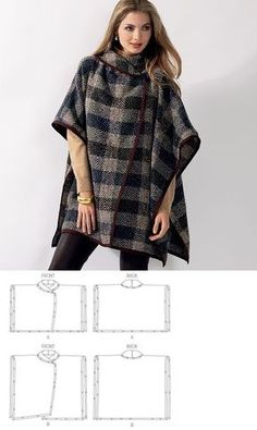 Veritas cape poncho pattern and tutorial holiday jacket coat bolero PDF Coat Patterns, Clothing Patterns, Dress Patterns, Sewing Patterns, Poncho Pattern Sewing, Clothes Crafts, Sewing Clothes, Sewing Hacks, Sewing Tutorials