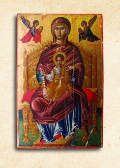 Ἡ Θεοτόκος Ἔνθρονος, 16ος αἰ. Ἐνορία Κρούστα Russian Icons, Byzantine Art, Orthodox Icons, Fresco, Christianity, Book Art, Greek, Child, Painting