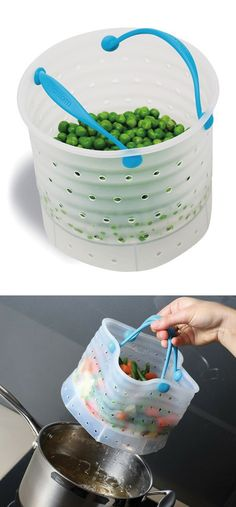 Cook + drain bag // safe heat-resistant silicone, great kitchen idea!