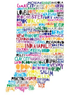 INDIANA Digital Ilustration Indiana State Print Map by mollymattin on ETSY.    Want this, but will have to add good o C-burg!