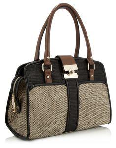 Maise Colour Block Woven Bag | Black | Accessorize