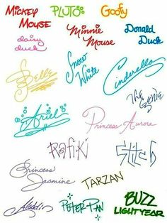 Autographs from Disney characters...I remember doing this when we went to DW!