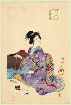 Toyohara Chikanobu (豊原周延)  (1838–1912) - Sewing. 1896. Seated bijin sewing whilst her cat looks on  JAPAN PRINT GALLERY: Sewing