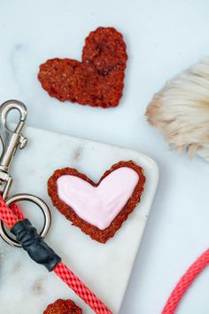 Heart-shaped beet cookies for dogs on marble tray with leash and dog paw in background Valentine Status, Valentines Day Hearts, Be My Valentine, Love Beets, Fresh Beets, Natural Food Coloring, Pink Food Coloring, Dog Cookies, No Bake Cookies