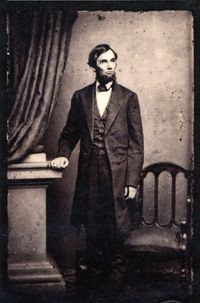 1861, May 16. President Abraham Lincoln, by Mathew Brady. Albumen silver print, Frederick Hill Meserve Collection, National Portrait Gallery, Smithsonian Institution.