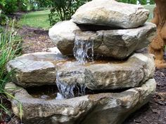 Stacked Rock Falls. Great Fountain for decks, patios and in the garden. Available in two sizes. Made in the USA. WE SHIP  540 948-2239
