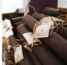 Beautiful Brown Wedding Cake, Decor and More! Wedding Napkins, Wedding Ties, Chic Wedding, Rustic Wedding, Wedding Reception, Our Wedding, Wedding Cutlery, Wedding Details, Wedding Decor