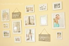 "I like the idea of having ""Mr."" and ""Mrs."" in their own picture and staggering them with the pictures on the wall"