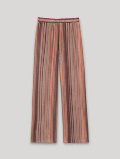 Pantaloni palazzo a righe lurex, colore Marrone - Indossato