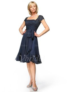 Mother of the Bride Dresses - $130.49 - A-Line/Princess Square Neckline Knee-Length Chiffon Lace Mother of the Bride Dress With Ruffle Bow(s) (00805006882)