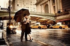 Married couples don't kiss in the rain...
