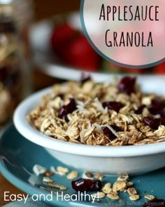 Delicious homemade granola without lots of butter or oil! Surprise! Applesauce is the key! This easy, healthy and really yummy granola proves it!