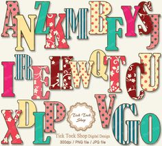 Colorful Alphabet SET  01 6 inch Clip Art by KangByeol on Etsy, $2.50