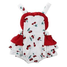 Cute Cherry Floral Baby Girl Bubble Romper, Ruffled Newborn Infant Girl Playsuit, Toddler Girl Sunsuit, Summer Sleeveless Adjustable Straps Rompers.