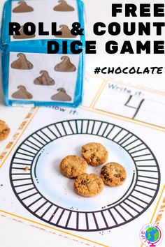 This fun dice game for preschoolers is a great counting activity for your math centers! Grab some mini chocolate chip cookies and practice counting! Learning Games For Preschoolers, Kindergarten Learning, Preschool Learning Activities, Preschool Printables, Preschool Math, Preschool Ideas, Fun Learning, Free Printables, Counting Games
