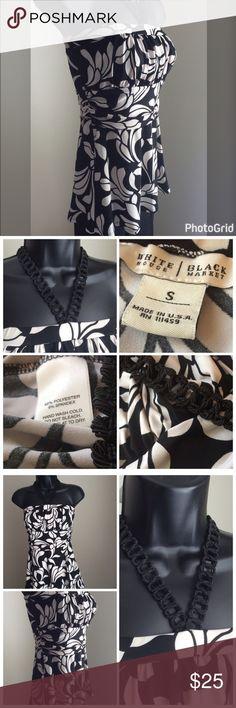 White House Black Market Halter Top Beautiful black & white halter top. Gathered details. Crochet adjustable tie around the neck. Excellent condition. White House Black Market Tops