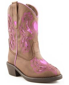 Roper Infant & Toddler Girls' Glitter Inlay Heart Embroidered Cowgirl Boots - Sheplers