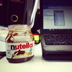 How I go through office when it gets rough and need motivation.. Nutella be my savior as I don't let the muggles get me down.... #nutella #nutellaforlife