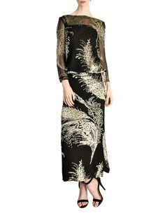 Celine Vintage Black Sheer Silk Embroidered Fuzzy Gold Tinsel Dress ded4c69d2