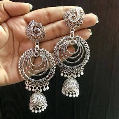 Most Beautiful Earrings - Indian Fashion Ideas Indian Jewelry Earrings, Indian Jewelry Sets, Silver Jewellery Indian, Jewelry Design Earrings, Ear Jewelry, Fashion Earrings, Silver Jewelry, Silver Jhumkas, Tikka Jewelry